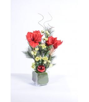 Bouquet artificiel AMARYLLIS ROUGE NOEL