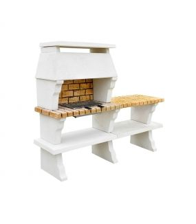 BARBECUE DECO HOTTE XLARGE + 1 TABLE TON BLANC